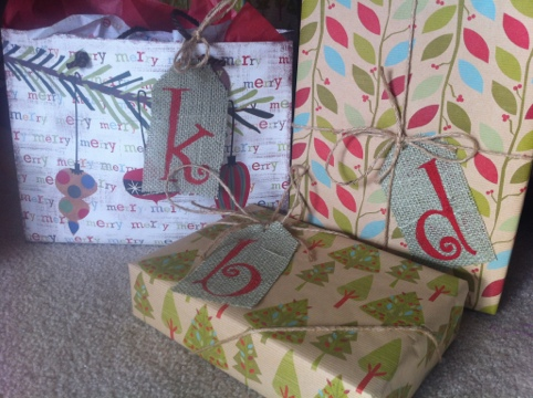 Christmas gifts with burlap gift tags