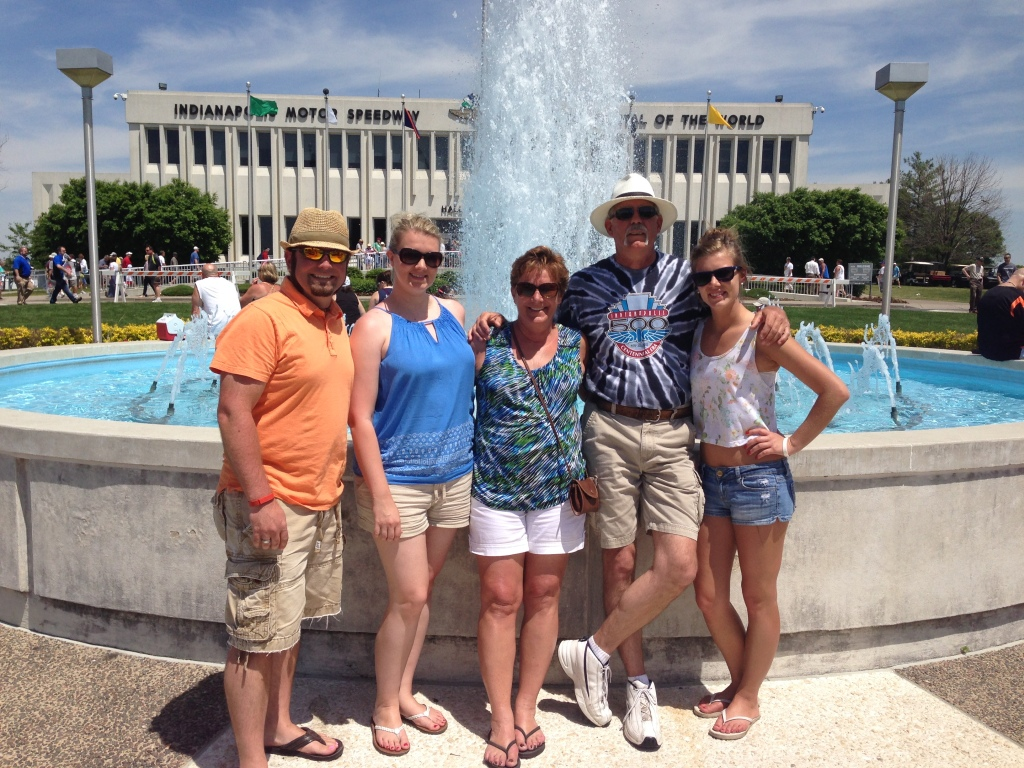Chris, myself, mom, dad and Stacy in front of the museum at the Indianapolis Motor Speedway