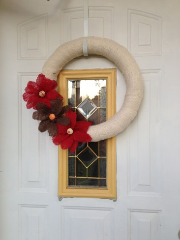 burlap wreath on door