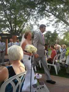 Bride & Groom walking down the aisle