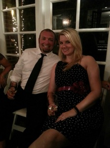 Chris & Jess at wedding reception
