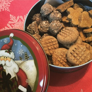 Christmas tin of dog treats